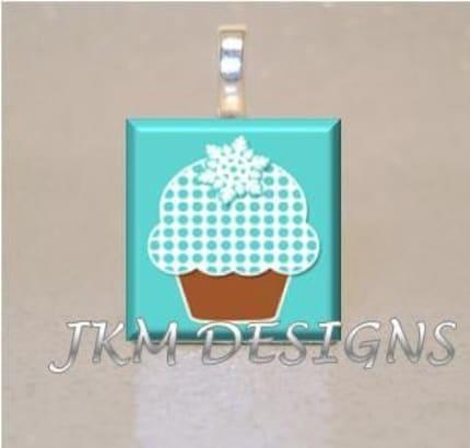 Scrabble Tile Pendant BUY 3 GET 1 FREE Christmas Cupcake Blue Polka Dot Snowflake