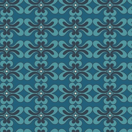 ALHAMBRA II, Mazy Bricks in Teal  by Art Gallery Fabrics, 1 yard