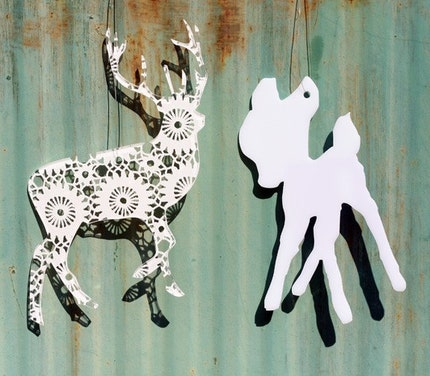 Set of  2 white acrylic plexiglass silhouette ornament bird, deer, bambi, rabbit or snowflake