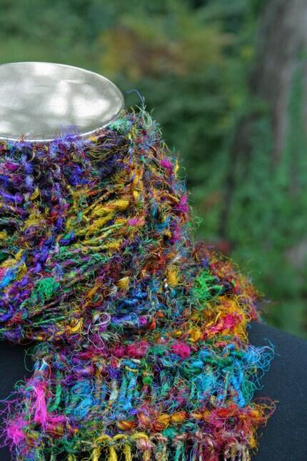 Hand Knit Recycled Sari Silk Random Drop Stitch Scarf by TJTDesign