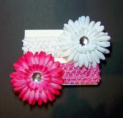 4 Piece Set - White Gerbera Daisy Clippie with White Crocheted Headband and Hot PInk Gerbera Daisy Clippie with Hot Pink Crocheted Headband