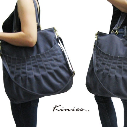 Kangaroo Pouch Tote  Messenger in GRAY by Kinies on Etsy