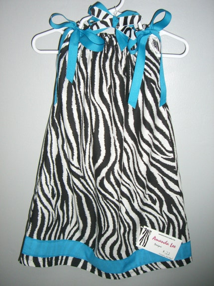 Turquoise Blue and Zebra Pillowcase dress - with matching Hair Bow
