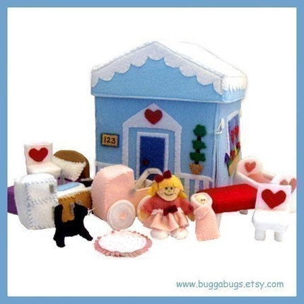HOME SWEET HOME - Dollhouse, Dolls, Kitchen, Table, Chairs, Bed, Pillow, Cradle, Rug, Stroller, Cat (Patterns and Instructions)