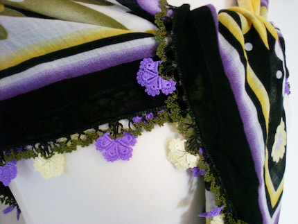 Yellow purple flower YAZMA scarf