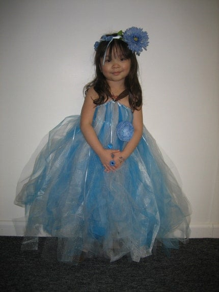 BLUE Snow Fairy or Snow Princess 2-Too-4 Tutu (Tutu Dress and Headpiece Set)