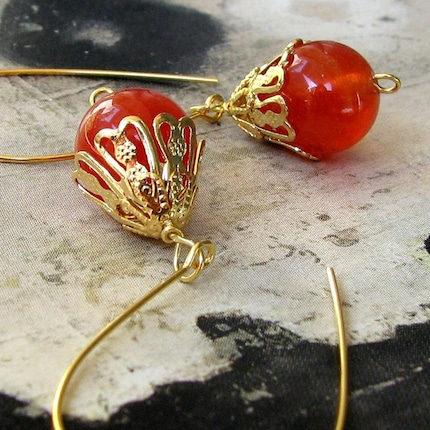 Evy Venetian Fiery Sunset Orange Quartz Earrings