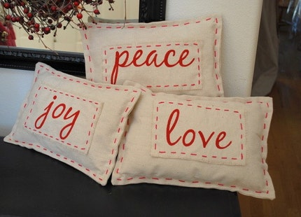 Decorative Shabby Chic Canvas Christmas Pillow- Joy