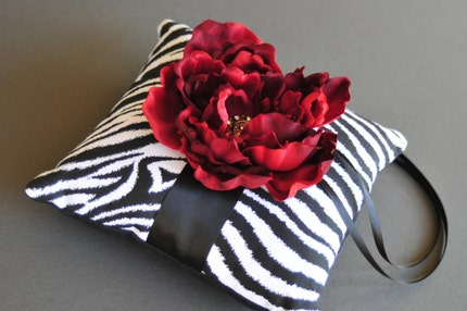 Ring Pillow in Zebra Print with Garnet Red Jeweled Flower