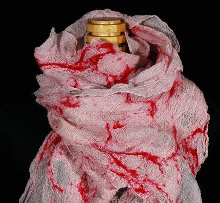 Magenta nunofelted silk scarf