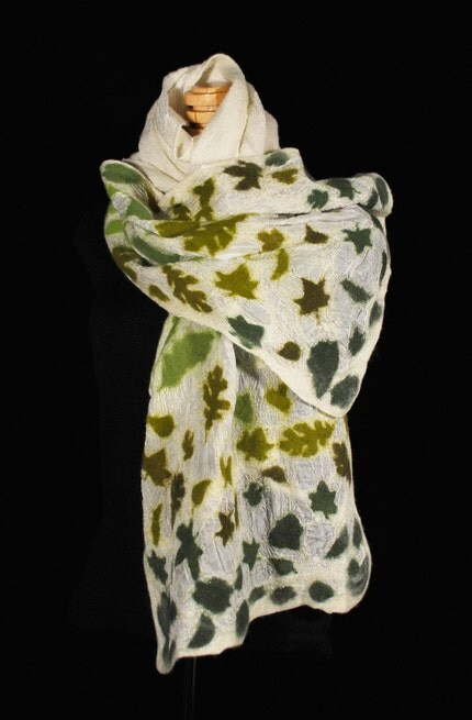 Winter Leaves nunofelt silk wrap