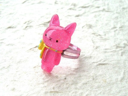 Kawaii Cute Japanese Ring - Cat  Small Size Adjustable PINK
