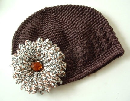 Brown Crochet Knit Beanie and Cheetah Flower Hair Clip