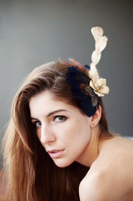 Navy Blue and Natural Bridal Hairpiece