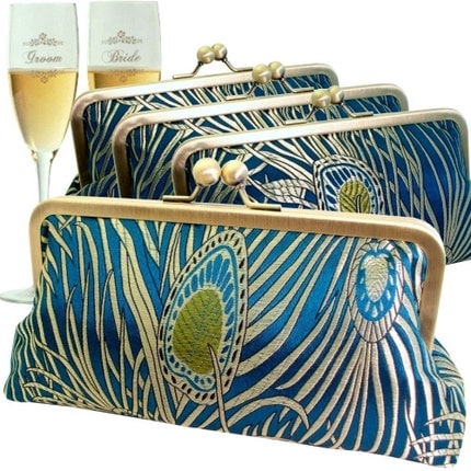 Peacock Bridesmaids Clutch Set Silk Brocade Set of 4 Teal and Gold