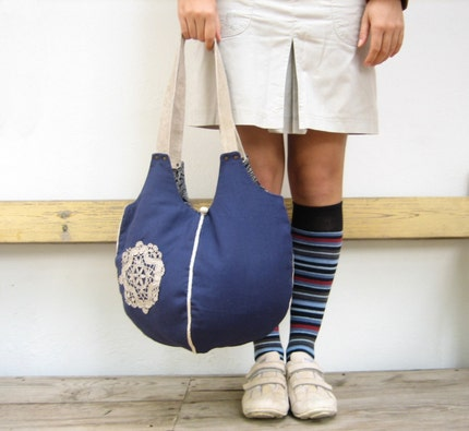 The Mimi Bag- Dark Blue with Off White Leather Strapes and Vintage Doily
