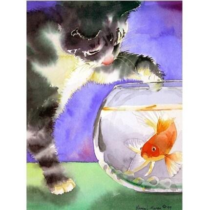 Cat Art Fish Kitten Tabby Calico