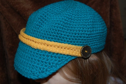 Women's Belted Brim Cap - Teal and Gold