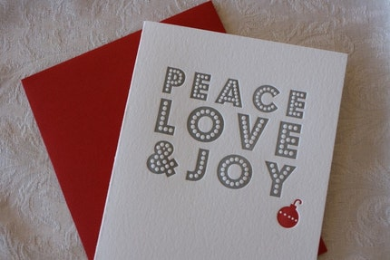 Peace, Love and Joy (Silver) Letterpress Holiday Cards - Set of 5