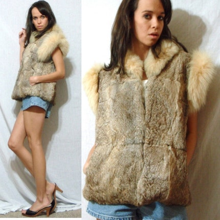 Vintage RABBIT fur brown white multi color bohemian vest jacket retro M L