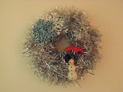 Silver Snowman Winter Christmas Wreath