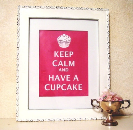 KEEP CALM AND HAVE A CUPCAKE ready to frame matted PRINT fits 11x 14 frame vintage RED