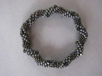 silver pine bead crochet bracelet