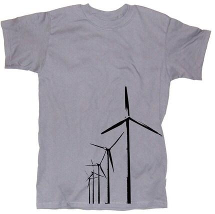 Wind Farm Alternative Energy Graphic Print Steel Grey Charcoal T-Shirt in S, M, L, XL, XXL