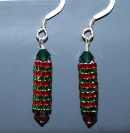 Red and Green Crystal Beadwoven Holiday Cheer Earrings