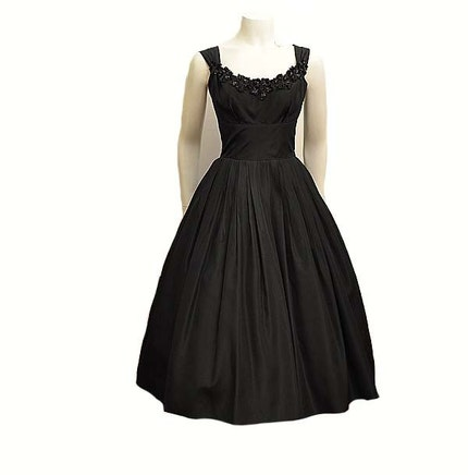 Black Taffeta Vintage 50's Beaded Full Skirt Party Dress with Bolero