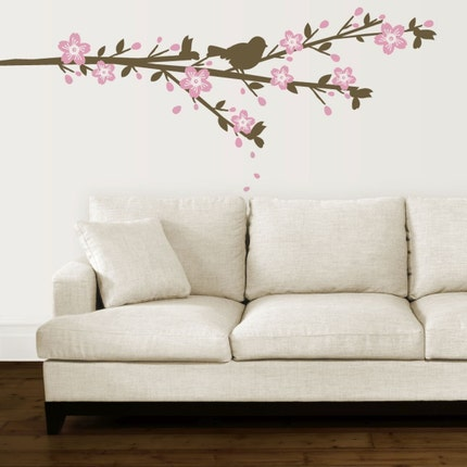 Cherry blossom with sparrow - Vinyl Wall Decal Graphic Art Sticker Home Decor