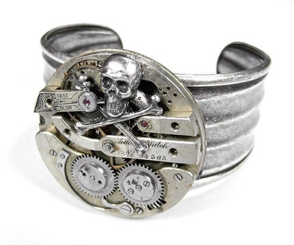 Steampunk  Cuff - INDUSTRIAL Vintage SKULL Pocket Watch Mens or Womens Adjustable Cuff Bracelet - INCREDIBLE UNISEX - THIS PIECE IS A HOTTIE - FEATURED IN FRENCH FASHION MAGAZINE and SIGNATURE Style BOLD Design - Exclusive Offering by edmdesigns