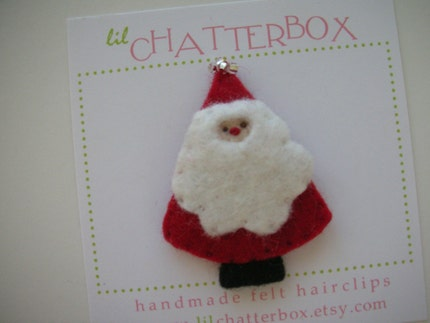 Little Santa wool felt hair clip