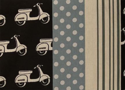 Fat Qtr x Retro Scooter - Black/Grey Fabric by Kokka