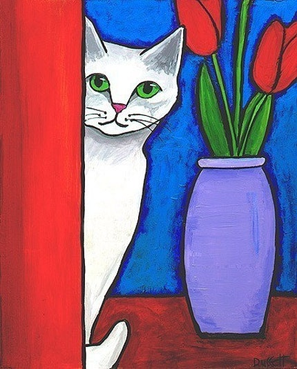 White Cat and Red Tulips - Print
