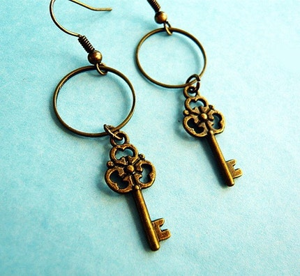 French Style Key Earrings by MaruMaru on Etsy