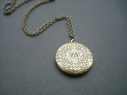 butterfly flower pattern victorian locket - antique brass