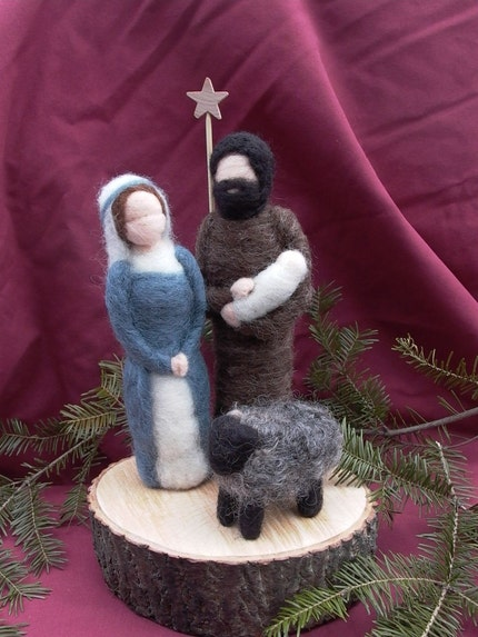 Needle Felted Nativity (Joseph holding baby)