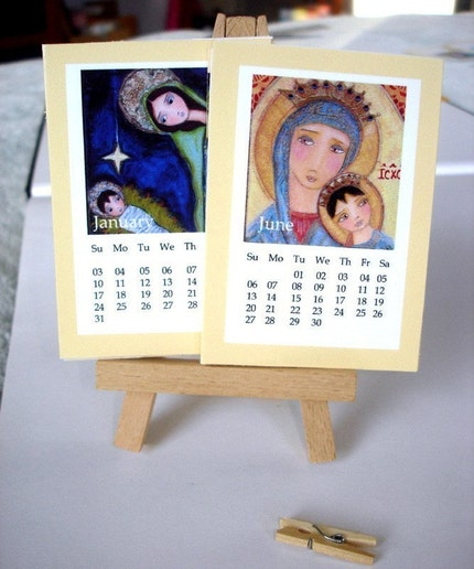 2010 Mini Calendar ACEO Art Trading Cards with Wood Easels (13 2.5 x 3.5 inches Cards VIRGIN MARY - MADONNAS- NATIVITY- NATIVITIES) by FLOR LARIOS