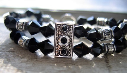 Black Swarovski Crystal with Silver Slides Handmade Bracelet