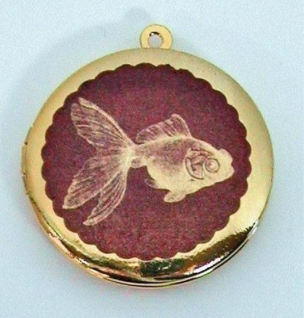 SALE ... GOLDFISH Vintage Brass Photo Locket UNIQUE ART PENDANTS Molly Spilane FREE SHIPPING WORLDWIDE
