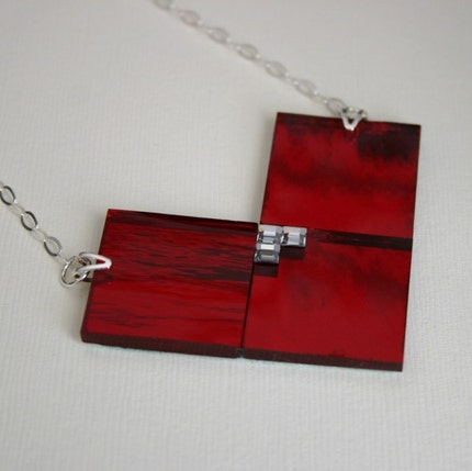 SALE Cherry Red Stained Glass Tile Heart Bib by JMGJewelDesign from etsy.com