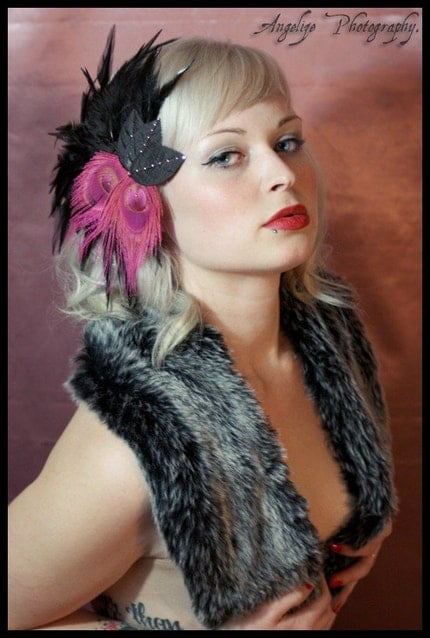 Hot Pink and Black Feather Fascinator with Pink by VintageBox1947 from etsy.com