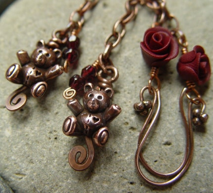 Teddy Bears and Roses Earrings
