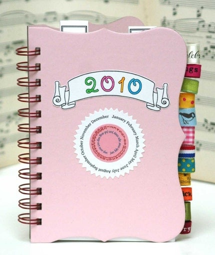 Pink 2010 Monthly Calendar Kit with Ribbon Tabs