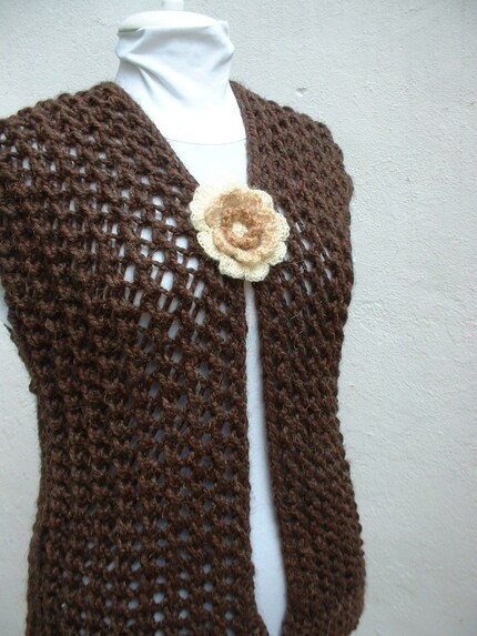 Brown Hand Knitted Knitting Vest