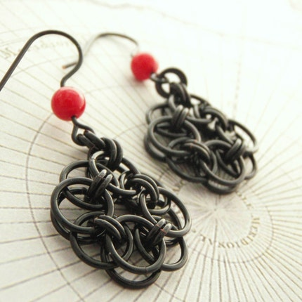 Black  Roses Of Success Earrings with Red Accent