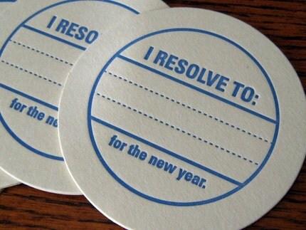 Letterpress Coaster Set - New Years Resolution