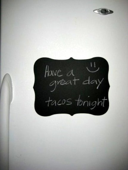 New Chalkboard Vinyl Decal  - You can use regular chalk and write notes.  Perfect for the fridge