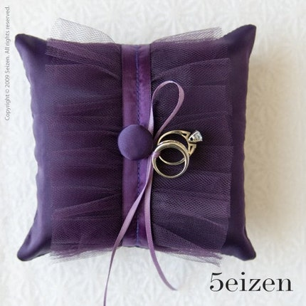 Tuxii Series II - Royal Purple Ring Pillow
